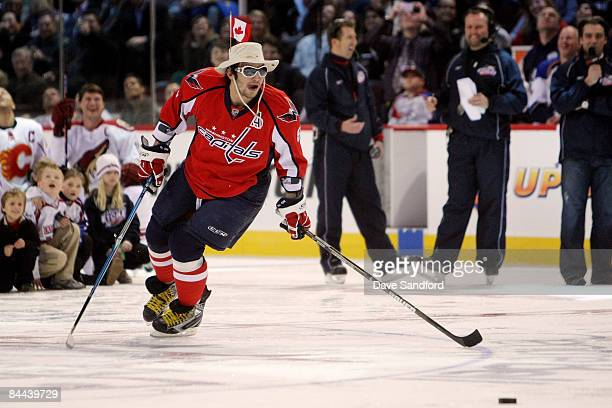 Eastern Conference AllStar Alex Ovechkin of the Washington Capitals competes in the Scotiabank NHL Fan Fav Breakaway Challenge during the Honda NHL...