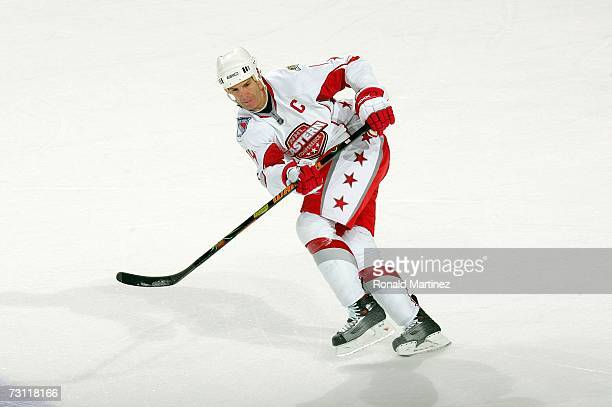 Eastern Conference AllStar Brendan Shanahan of the New York Rangers skates up ice during the 2007 NHL AllStar Game at American Airlines Center on...