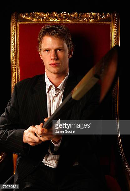 Eastern Conference AllStar Eric Staal of the Carolina Hurricanes poses for a portrait as part of the 2008 NHL AllStar weekend at Philips Arena on...