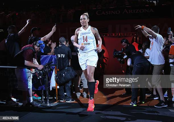 Eastern Conference AllStar Erika de Souza of the Atlanta Dream is introduced to the WNBA AllStar Game at US Airways Center on July 19 2014 in Phoenix...