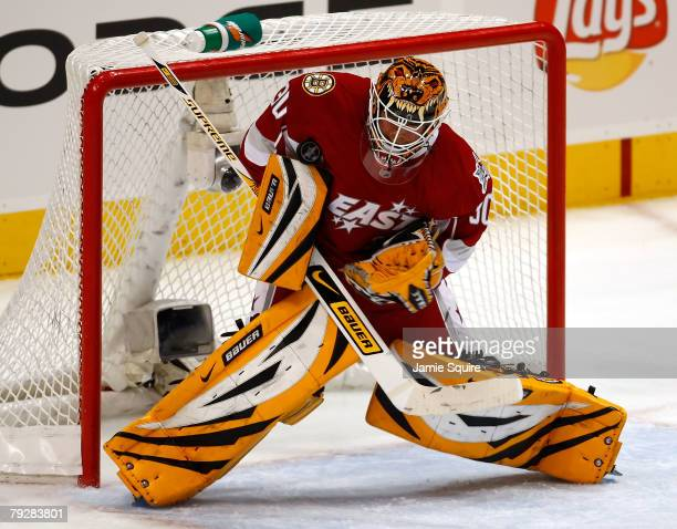 Eastern Conference AllStar goaltender Tim Thomas of the Boston Bruins makes a save during the 56th NHL AllStar Game at Philips Arena on January 27...