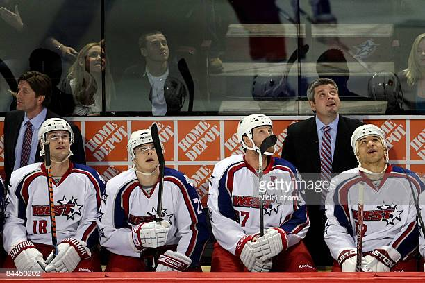 Eastern Conference AllStar head coach Todd McLellan of the San Jose Sharks looks on from the bench against Western Conference AllStar during the 2009...