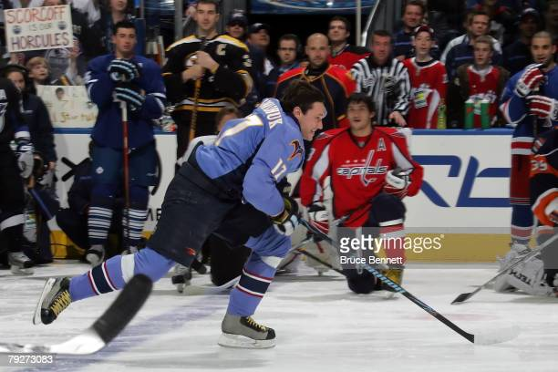 Eastern Conference AllStar Ilya Kovalchuk of the Atlanta Thrashers competes in the Dodge/NHL SuperSkills competition as part of the 2008 NHL AllStar...