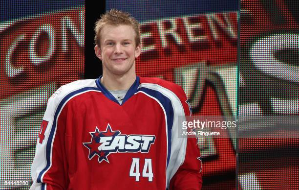 Eastern Conference AllStar Mike Komisarek of the Montreal Canadiens looks on during player introductions at the 2009 NHL AllStar game at the Bell...