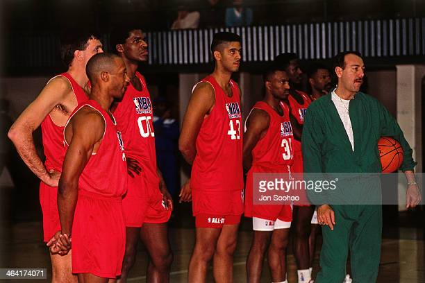 Eastern Conference AllStars coach Chris Ford looks on during NBA AllStar Practice as part of the 1991 All Star Weekend on February 9 1991 at the...