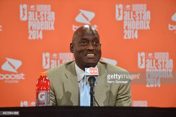 Eastern Conference AllStars Head Coach Michael Cooper talks to the media following the 2014 Boost Mobile WNBA AllStar Game on July 19 2014 at US...