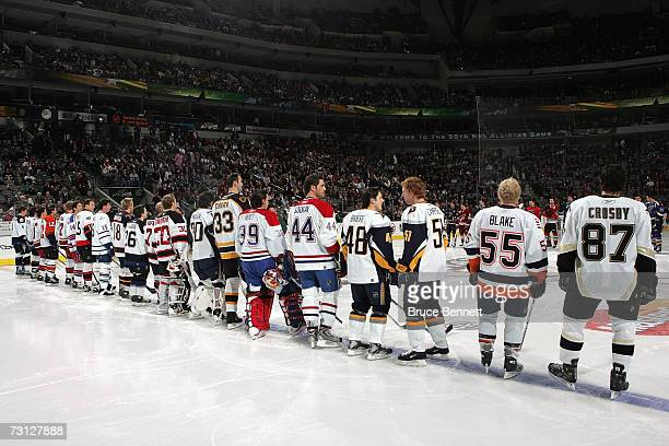 DALLAS JANUARY 23 Eastern Conference AllStars Jason Blake of the New York Islanders and Sidney Crosby of the Pittsburgh Penguins stand at the...