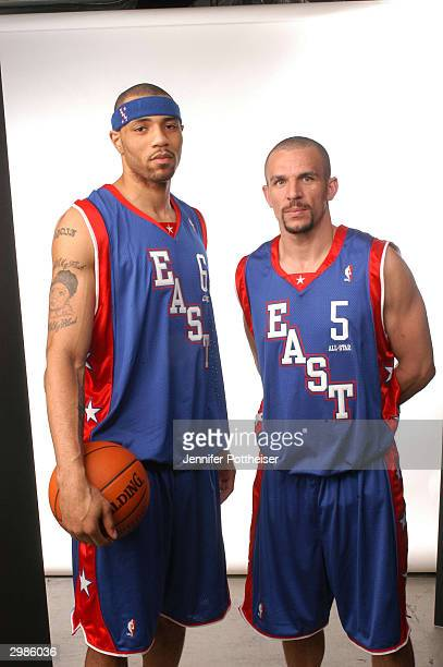 Eastern Conference AllStars Jason Kidd and Kenyon Martin of the New Jersey Nets pose for a portrait prior to the 2004 AllStar game February 15 2004...
