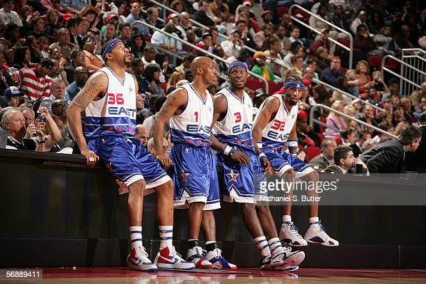 Eastern Conference AllStars Rasheed Wallace Chauncey Billups Ben Wallace and Richard Hamilton of the Detroit Pistons stand at the scorers table...
