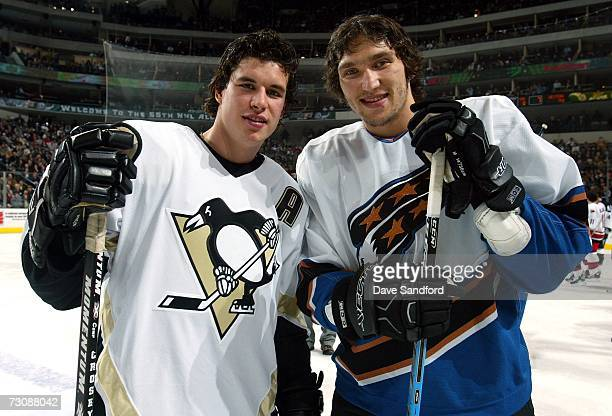 Eastern Conference AllStars Sidney Crosby of the Pittsburgh Penguins and Alex Ovechkin of the Washington Capitals pose together during the 2007 NHL...
