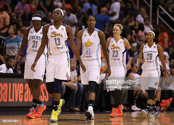 Eastern Conference AllStars Tina Charles of the New York Liberty Chiney Ogwumike of the Connecticut Sun Jessica Breland of the Chicago Sky Katie...