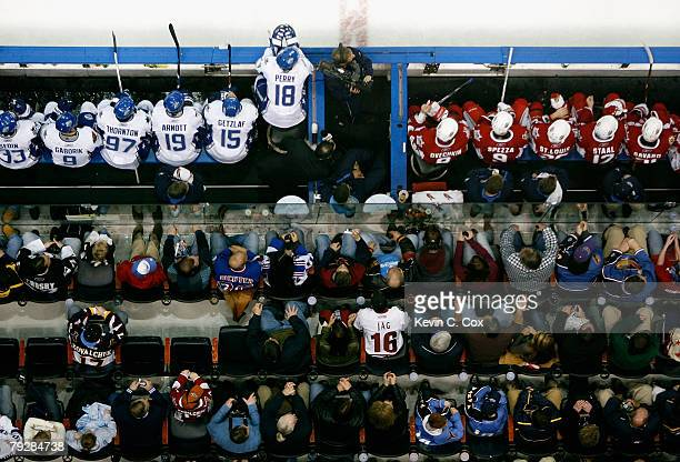 Eastern Conference and Western Conference AllStars sit in their benches during the 56th NHL AllStar Game at Philips Arena on January 27 2008 in...