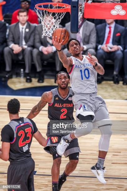 Eastern Conference guard DeMar DeRozan shoots a lay up against Western Conference forward Kawhi Leonard during the NBA AllStar Game between the...