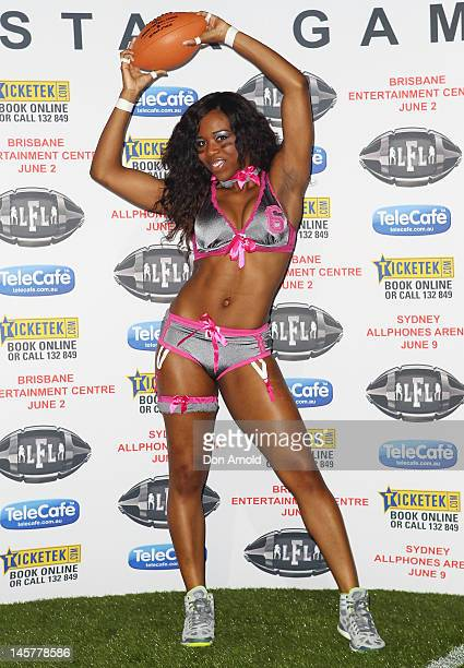 Eastern Conference player Jaleesa McCrary poses at the Lingerie Football League media call at Allphones Arena on June 6 2012 in Sydney Australia
