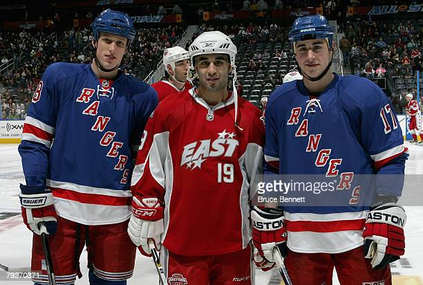 Eastern Conference Youngstar Marc Staal AllStar Scott Gomez of the New York Rangers and Youngstar Brandon Dubinsky of the New York Rangers pose...