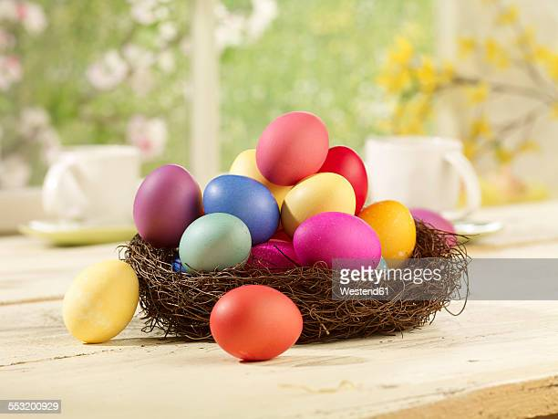 Eastern, Easter nest with coloured eggs