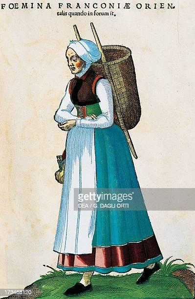 Eastern Franconian women, engraving from Habitus praecipuorum popularum by Jost Amman . Madrid, Biblioteca Nacional