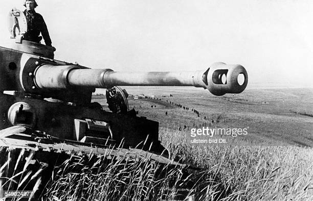 2WW eastern front German offensive in BjelgorodOrel region battle of Kursk advancing german grenadiers Forground a tank VI 'Tiger' July 1943