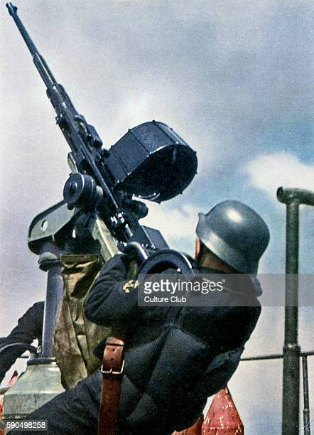 WW2 Eastern Front Protection from air attack Gunner at sea pointing weapon into the sky