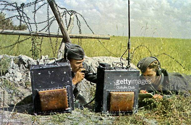 WW2 Eastern Front Team of radio operators working during combat