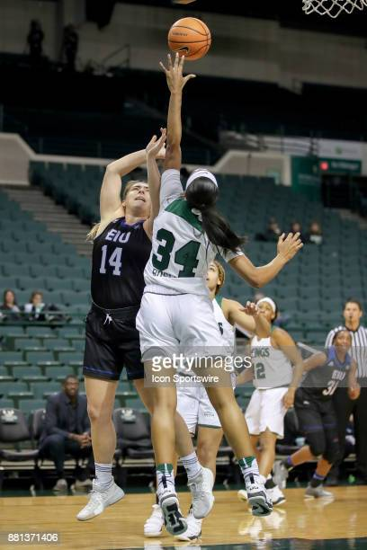 Eastern Illinois Panthers forward Grace McRae shoots over Cleveland State Vikings forward Shadae Bosley during the first quarter of the women's...