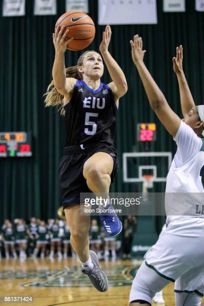 Eastern Illinois Panthers guard Grace Lennox drives to the basket against Cleveland State Vikings guard Khayla Livingston during the second quarter...