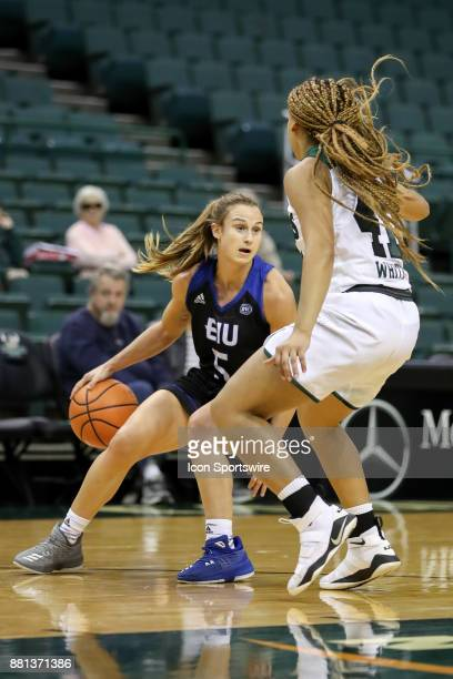 Eastern Illinois Panthers guard Grace Lennox is defended by Cleveland State Vikings guard Mariah White during the first quarter of the women's...