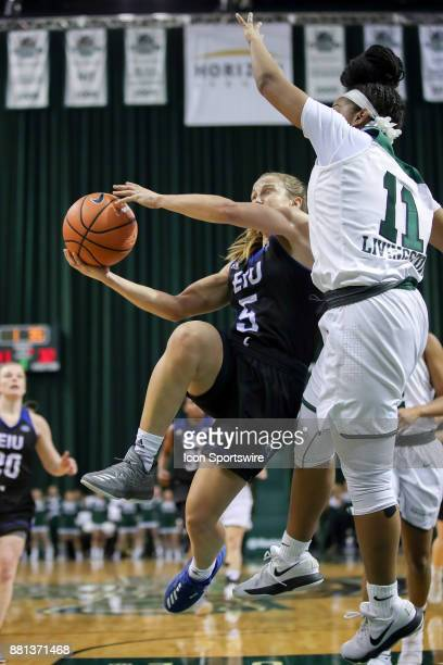 Eastern Illinois Panthers guard Grace Lennox is fouled by Cleveland State Vikings guard Khayla Livingston as she drives to the basket during the...