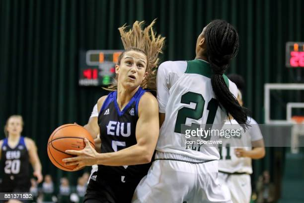 Eastern Illinois Panthers guard Grace Lennox is fouled by Cleveland State Vikings guard Jade Ely as she drives to the basket during the second...