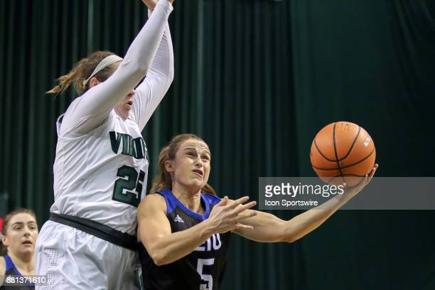 Eastern Illinois Panthers guard Grace Lennox shoots as Cleveland State Vikings forward Olivia Voskuhl defends during the second quarter of the...