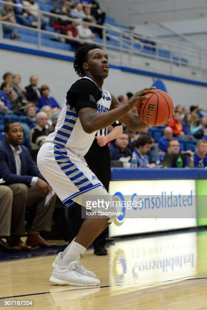 Eastern Illinois Panthers Guard Mack Smith pulls up for a three point shot during the Ohio Valley Conference college basketball game between the...