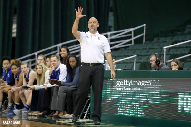 Eastern Illinois Panthers head coach Matt Bollant calls a play during the third quarter of the women's college basketball game between the Eastern...