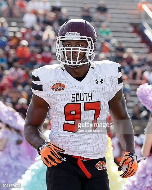 Eastern Kentucky Defensive End Noah Spence of the South Team during the 2016 Resse's Senior Bowl at LaddPeebles Stadium on January 30 2016 in Mobile...