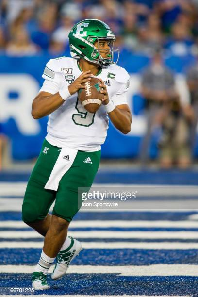 Eastern Michigan quarterback Mike Glass III passes from the end zone during a regular season college football game between the Eastern Michigan...