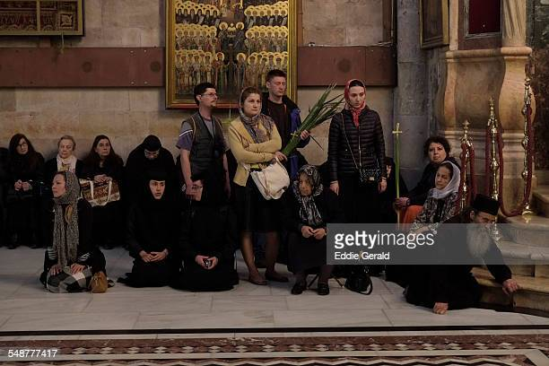 Eastern Orthodox worshipers taking part in a procession on Lazarus Saturday at the Church of Holy Sepulchre in old city Jerusalem, Israel 4th April...