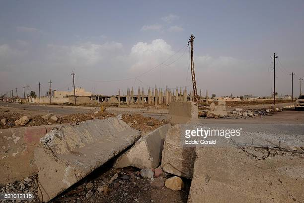 Eastern Syria Rabiah 13 October 2014 Rubble caused due fighting between ISIS militants and YPG Kurdish fighters is seen ag the crossing border of...