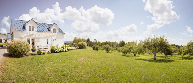 Eastern Townships Orchard with small house 155440589