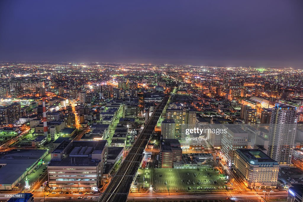 Eastern view of downtown Sapporo : Stock Photo