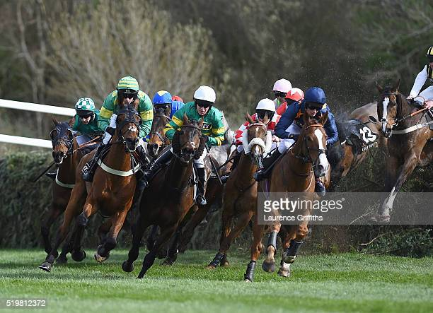 Eastlake ridden by Barry Geraghty comes out of Canal Turn during The Crabbies Topham Steeple Chase at Aintree Racecourse on April 8 2016 in Liverpool...