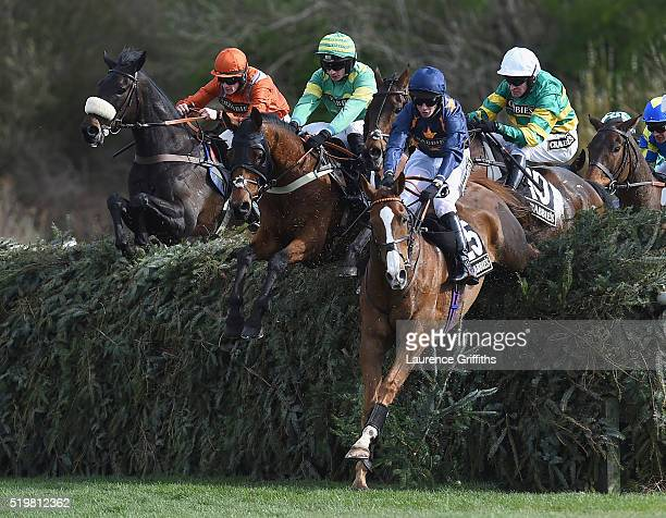 Eastlake ridden by Barry Geraghty jumps Canal Turn behind leader Fairy Rath ridden by Tom Cannon during The Crabbies Topham Steeple Chase at Aintree...