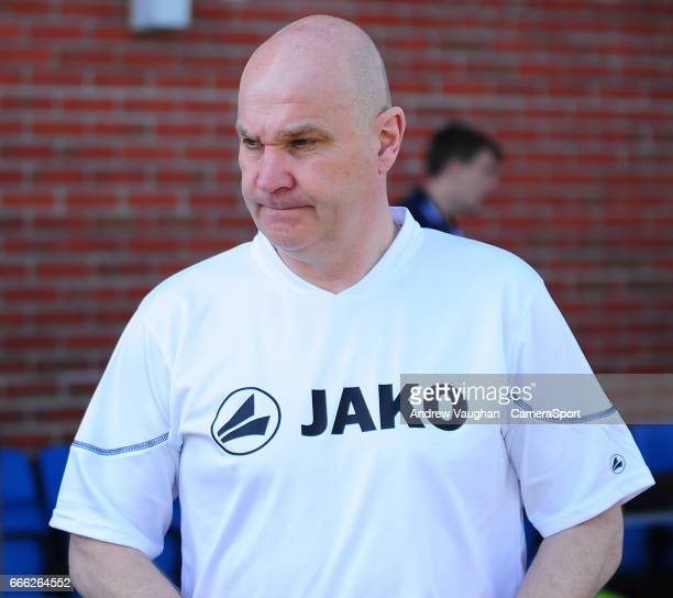 Eastleigh manager Richard Hill during the pre-match warm-up prior to the Vanarama National League match between Eastleigh and Lincoln City at...