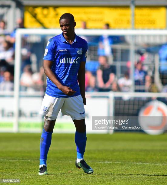 Eastleigh's Hakeem Odoffin during the Vanarama National League match between Eastleigh and Lincoln City at Silverlake Stadium on April 8, 2017 in...