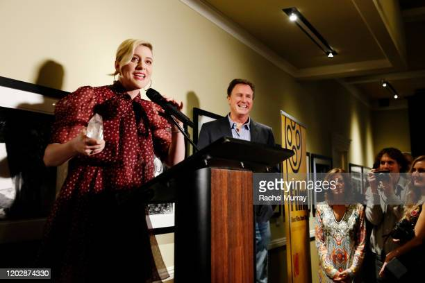 Eastman Kodak Co Motion Picture and Entertainment President Steve Bellamy presents 'Auteur Award' to Greta Gerwig onstage during the Fourth Annual...
