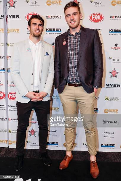 Easton Wood and Jordan Roughead arrives ahead of the AFL Players' MVP Awards on September 12 2017 in Melbourne Australia