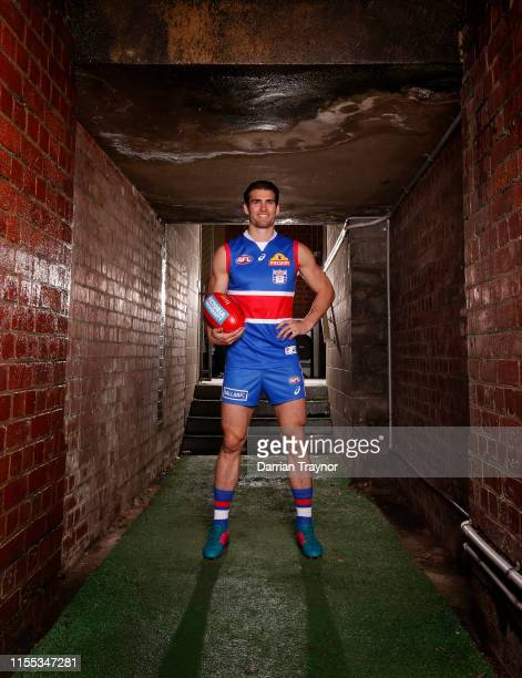 Easton Wood captain of the Bulldogs poses for a photo wearing the 'Fight Back' jumper the team will wear in round 17 during a Western Bulldogs AFL...
