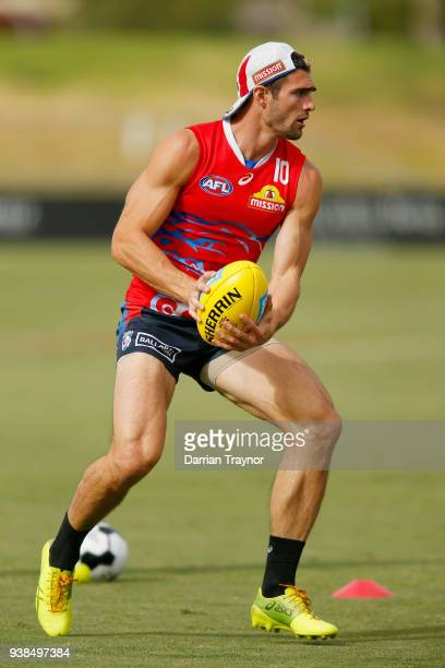 Easton Wood gathers the ball during a Western Bulldogs AFL training session at Whitten Oval on March 27, 2018 in Melbourne, Australia.