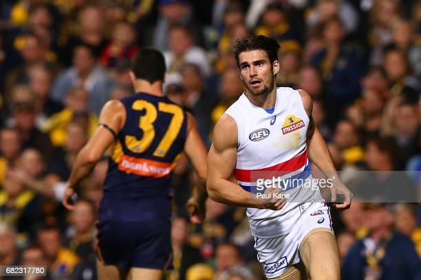 Easton Wood of the Bulldogs celebrates a goal during the round eight AFL match between the West Coast Eagles and the Western Bulldogs at Domain...