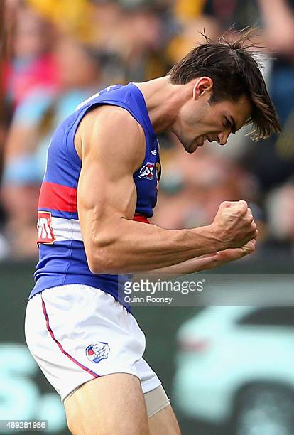 Easton Wood of the Bulldogs celebrates kicking a goal during the round two AFL match between the Richmond Tigers and the Western Bulldogs at...