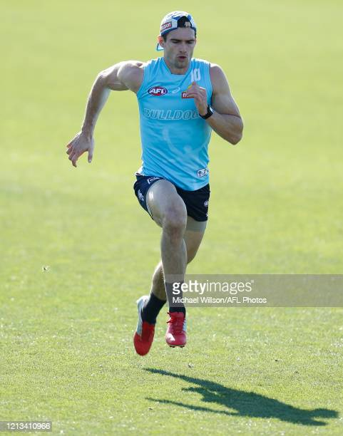 Easton Wood of the Bulldogs in action during the Western Bulldogs AFL training session at Whitten Oval on May 18, 2020 in Melbourne, Australia.