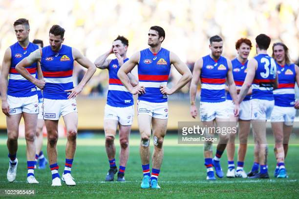 Easton Wood of the Bulldogs looks dejected after defeat during the round 23 AFL match between the Richmond Tigers and the Western Bulldogs at...